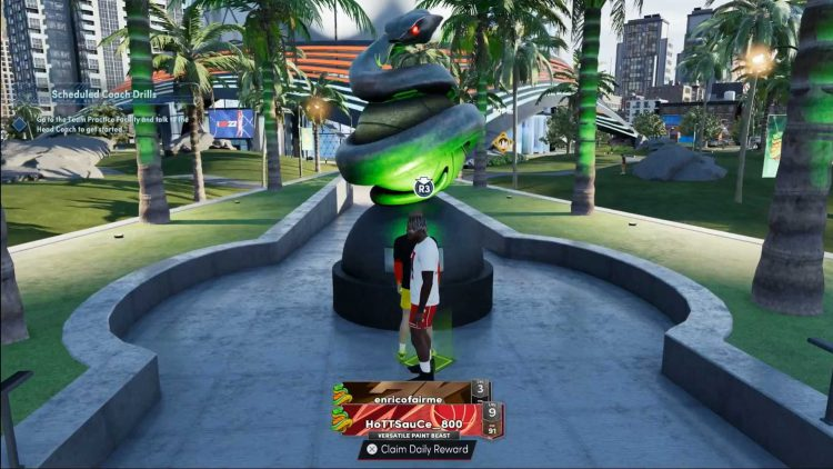 Image showing a Daily Reward statue in NBA 2K22.