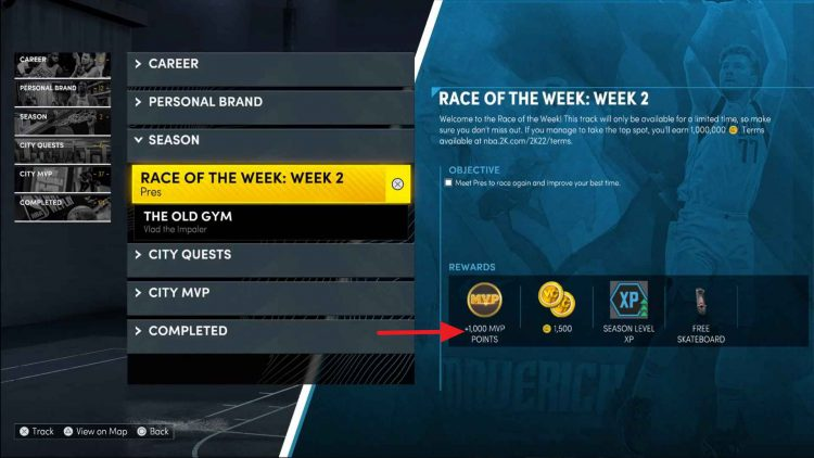 Image showing MVP Points in NBA 2K22.