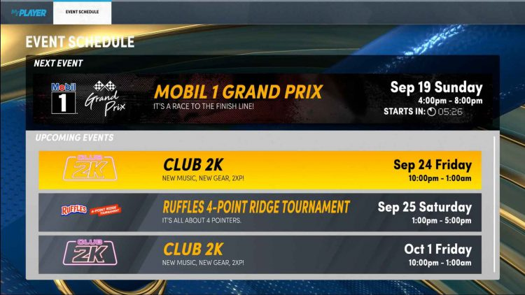 Image showing the event schedule in NBA 2K22.