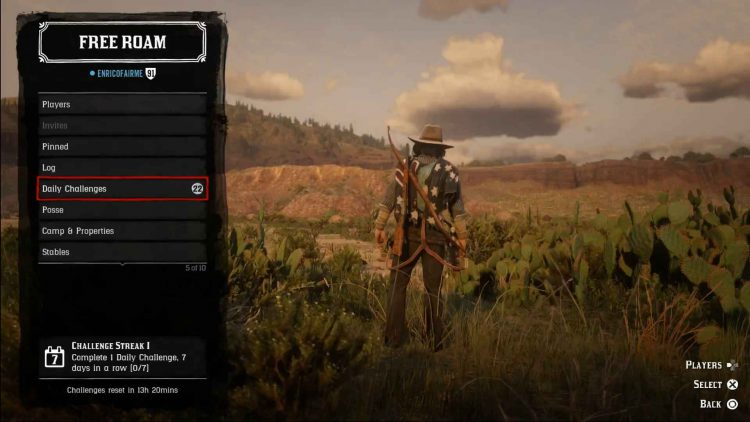 Image showing the Red Dead Online Daily Challenges.