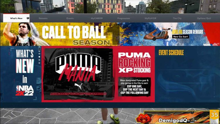 Image showing the Puma Mania event screen in NBA 2K22.